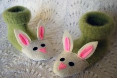 Recycled sweater slippers.  Great idea for kids socks - around Easter.  Just a pair of socks and felt for the bunny face.