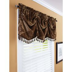 "Better Homes and Gardens 52"" Boucle Valance and Faux Wood Blinds - Rental Bathroom."