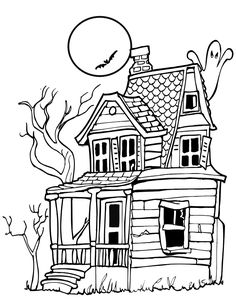 Haunted House Coloring Page | Haunted House With Ghost