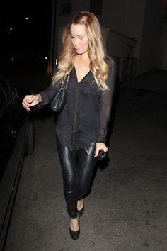 leather look leggings.