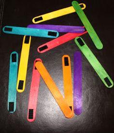 velcro building sticks (craft sticks, velcro pieces) -- make shapes?