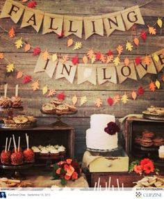 """For a fall wedding...cute idea! Or maybe raindrops """"falling"""" for a spring wedding?"""