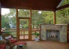 Sunroom, Patio, Screened in Porch, Deck  would love to do this with fireplace on our back patio