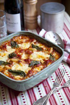 mozzarella, tomato and gnocchi bake.Yes please