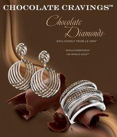 Chocolate Diamonds® and Vanilla Diamonds® Gladiator® Earrings and Ring in Vanilla Gold®.