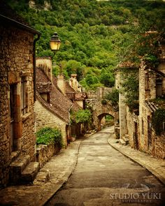 France Travel Photo Small Rustic Street Rocamadour by StudioYuki, $30.00