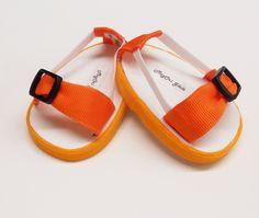 "American Girl 18"" doll Shoes Sandals Orange Handmade"