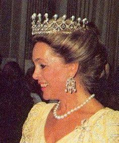 Princess Elisabeth, Duchess in Bavaria, wearing her Pearl and Diamond Tiara, Germany (pearls, diamonds).