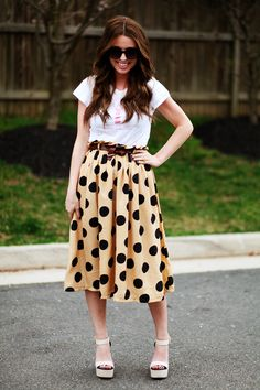 I actually like the Tee and skirt combo. The shoes- not so much