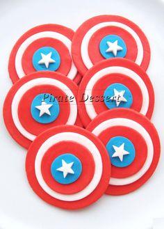 Edible Cupcake Toppers CAPTAIN AMERICA - Super Hero Fondant cupcake toppers, Captain America Cupcake- COMIC BooK Cupcakes (12 pieces)