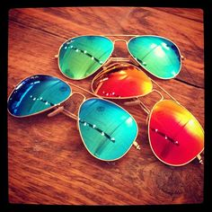Really want a pair of these for summer!!! Fresh in, Rayban Aviator coloured lenses #RayBan #RayBanAviator #Aviator #Sunglasses #Blue #Orange #Green by Fat Buddha Store, via Flickr