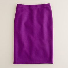 """Love this """"jazzy purple"""" wool pencil skirt from JCrew. How great would this look with some mustard yellow heels."""