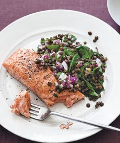 Salmon With Warm Lentil Salad recipe from realsimple.com #myplate #protein
