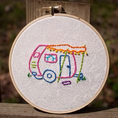 Hand Embroidered Camper Trailer 5 inch Embroidery Hoop Wall Art.