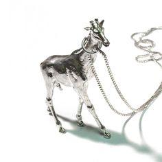 Giraffe Necklace Silver Plate by Kiel Mead