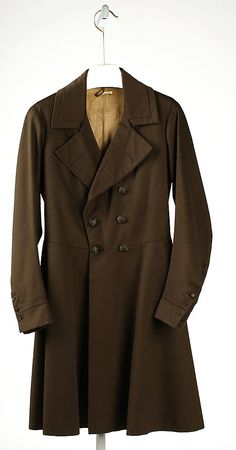 Coat -- men's coat, 1830s, American or European.  It may be later 1830s, as coats which met in the front were a still a new trend in 1832, and lapels were just starting to lie flat.