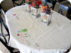 thanksgiving tablecloth!  draw/write what you are thankful for, pull it out every year and add to it.