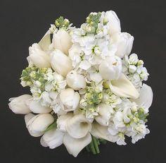 white tulips and white hydrangeas for wedding bouquet