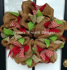 Burlap Wreath with Chevron Burlap Ribbons