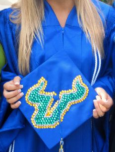 A high school graduate's mortar board showing her future next stop: #USF!