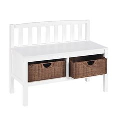 Found it at Wayfair - Harrison Wood Storage Bench in White - This would be perfect in Tresa and Jason's laundry room!