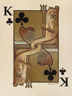 Mermaid Poker Playing Card Paintings-David Delamare
