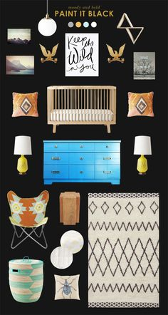 baby room inspiration with dark walls