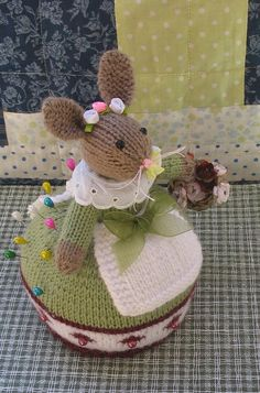 Marigold Handmade knitted bunny pincushion doll