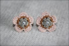 Crochet Flower Earrings Light Pink Gold and Gray by CatWomanCrafts, $10.00