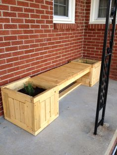 This is the planter bench that I built for my wife.