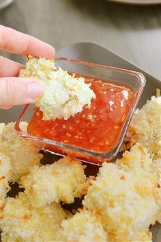 Coconut-Chicken Panko Bites>>baked, not fried. I bet it works for shrimp, too!