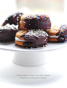 Easy Marshmallow Creme Filled Chocolate Dipped Sandwich Cookies @Amy Lyons Johnson / She Wears Many Hats