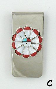 Native American Zuni Sterling Silver Inlay Sunface Money Clip