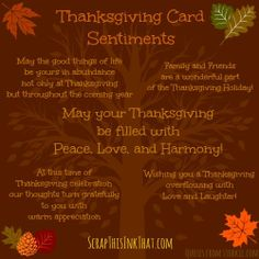 Scrap This...Ink That!: Thanksgiving Card Sentiments