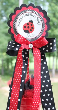 Single Ladybug Centerpiece in Red Black and White by SoCuteParties, $15.00