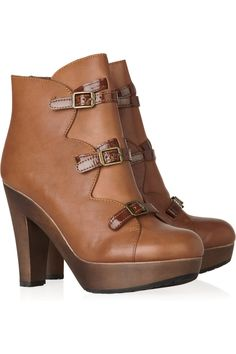 Wooden-heeled leather ankle boots