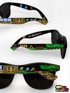 Legend of Zelda Sunglasses by ketchupize hand paint, geek, legends, glasses, zelda hand, hands, legend of zelda gifts, zelda sunglass, video games fashion