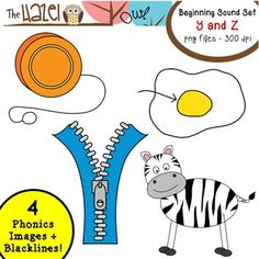 Beginning Sound / Alphabet Phonics Clip Art!  Y and Z Set!  $