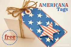 Piggy Bank Parties :: Americana Tags {free download} Attach to favors, napkins, Ball jars and more! #chillingrillin #summer #freedownload