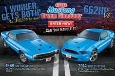 "The Mustang Dream Giveaway features a prize package of two Shelby GT500 Mustangs plus cash! Enter to win these ""grabber blue"" powerful ponies at: http://www.winthemustangs.com and help 9 different charities at the same time!"