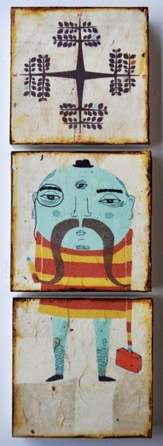 ... important trip to somewhere ... mixed media print on wood ... kelly puissegur ... from her etsy ...