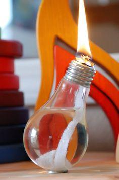 DIY Light Bulb Oil Lamp