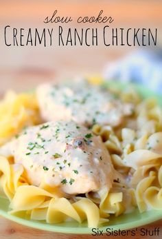 Slow Cooker Creamy Ranch Chicken from SixSistersStuff.com.  An easy, delicious meal you can throw together in a matter of minutes! #recipes #chicken #maindish