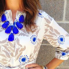 feeling blue, statement necklaces, cloth, color blue, kendra scott, dress, cobalt blue, outfit, jewelry trends