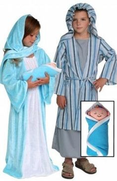 "12 Piece Christmas Pageant Nativity Costume Set  Costumes are made of soft velour fabric for comfortable fit and easy care. Plush ride-on animals slip over child's shoulders with adjustable suspenders.  12 piece dress-up Costume Set Includes:  Biblical Nativity Mary Costume  Biblical Nativity Baby Jesus 13"" Plush Doll  Biblical Nativity Joseph Costume  Biblical Nativity Donkey Costume  Biblical Nativity Angel Costume  Biblical Nativity Shepherd Costume and16"" Plush Sheep Puppet  Bibical Nativity"