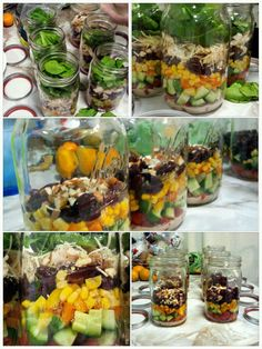 chicken breasts, almonds, jar salad, black beans, caesar dress, bell peppers, healthi food, chicken caesar, mason jars