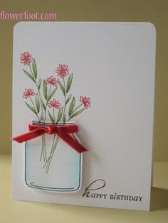 card idea, stamp sets, pink flowers, inspiration, happy birthdays, flower ideas, mason jars, cards, white ink