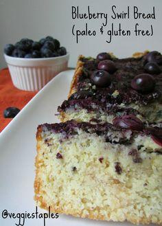 Gluten Free/Paleo Blueberry Swirl Bread #paleo #glutenfree #blueberrybread (gluten free bread recipes, recipes with blueberry)