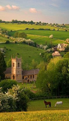 Naunton village in Gloucestershire, England