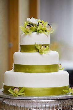 Chartreuse! Beautiful cake with green cymbidium orchids.